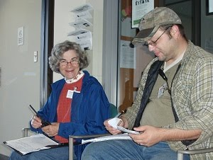 Connie and Ben during the 2010 Simulated Emergency Test (SET) play the dispatchers in our scenario.